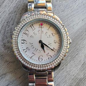 Betsey Johnson Silver Diamond Rhinestone Watch